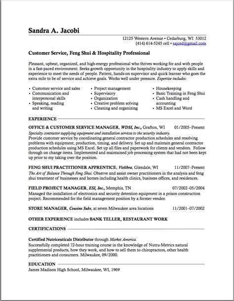 resume sles for career change career change resume career transition or career