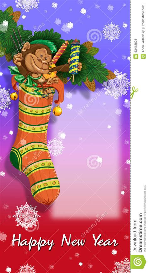 new year monkey stuff sock with gifts and toys stock illustration