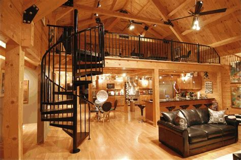 log homes interiors modern log home interior spiral staircase to loft