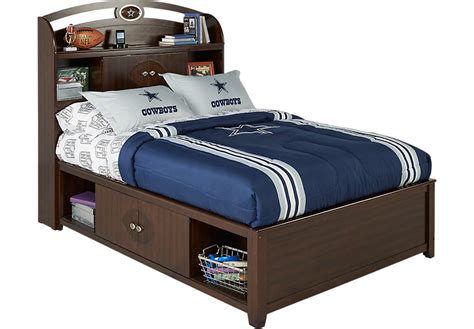 full size bed for boy nfl playbook espresso 4 pc full bookcase storage bed