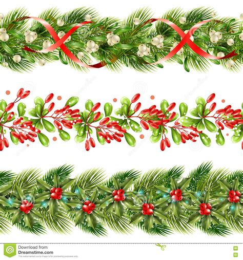 christmas pattern border christmas berry border seamless pattern set stock vector