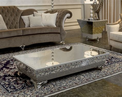 Rectangle Modern Low Coffee Table With Silver Metal Base