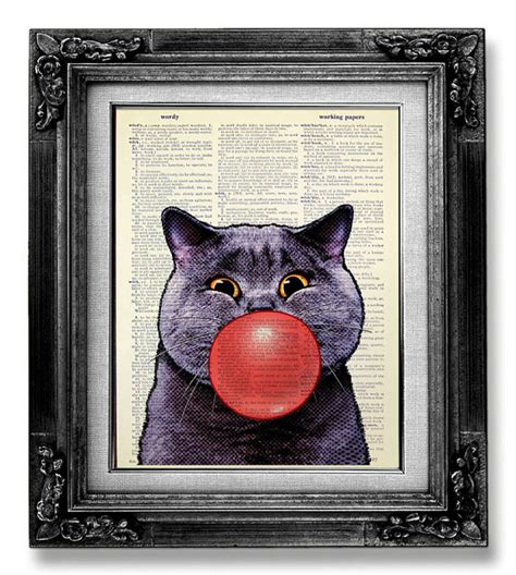 cool cat painting whimsical cat print geekery cat decor cat painting