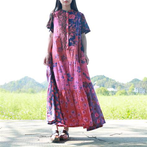 dress maxi ethnic maroon laramine maxi dress ethnic coklat merah aliexpress buy 2017 womens summer dress