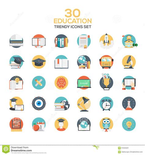 design education icon set of modern flat design education icons stock vector