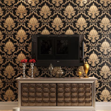 black damask wallpaper home decor luxury black metallic gold texture vinyl damask wallpaper