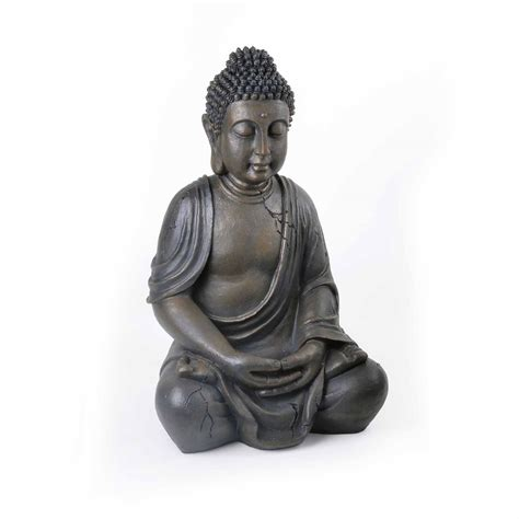 large detailed stone look resin buddha statue ornament 163 30 95 garden4less uk shop