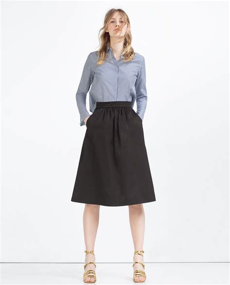Zara Skirt zara skirt with pockets in black lyst