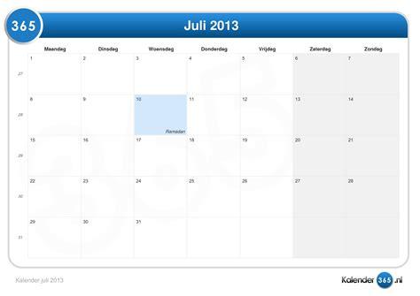 Calendar July 2013 Kalender Juli 2013