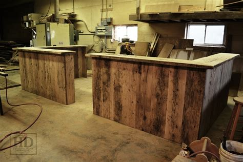 Wood Reception Desks Custom Reclaimed Wood Reception Desk In Kitchener Office
