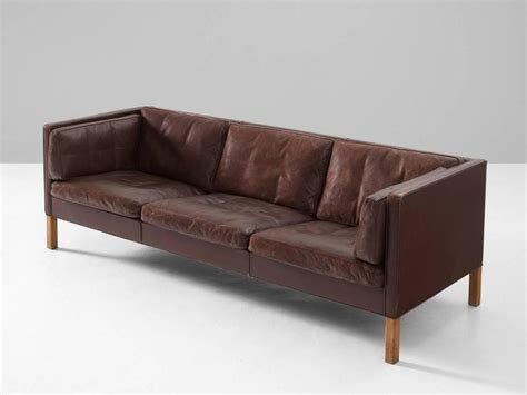 borge mogensen sofa 2443 in brown leather for sale at