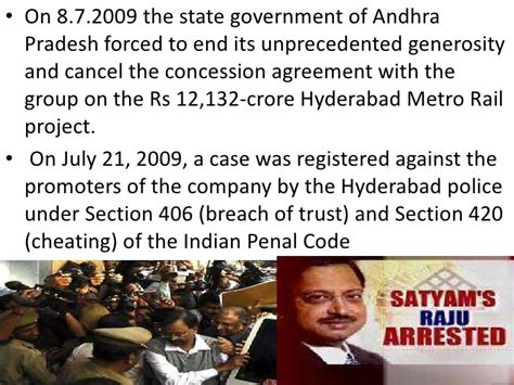 what is section 406 of ipc satyam scam
