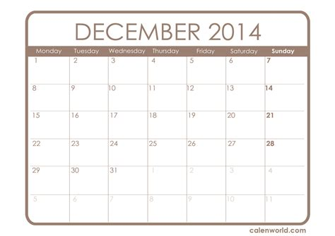 printable monthly calendar for december 2014 december 2014 calendar printable calendars
