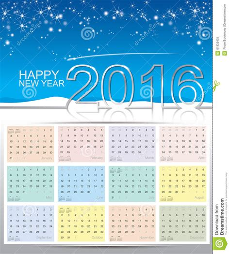 happy new year 2016 calendar stock vector image 61832435