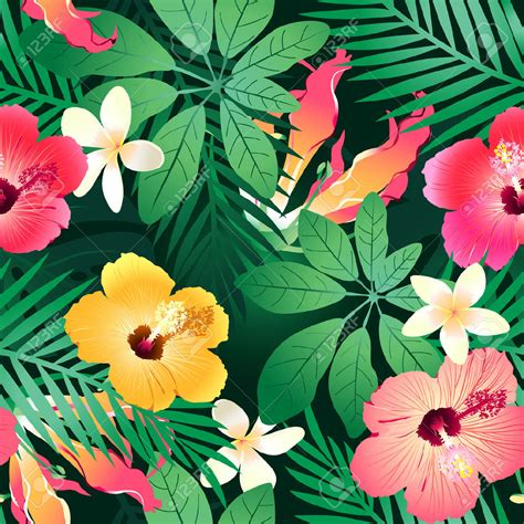 26980667 Lush Tropical Flowers Seamless Pattern On A Green Hawaiian Flower Backgrounds