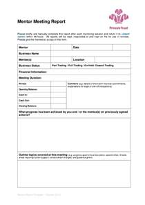 Mentor Program Template by Mentor Meeting Report Template