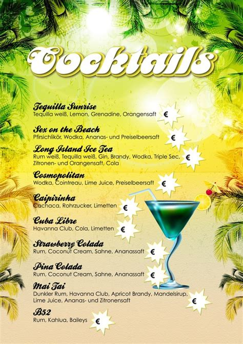 Word Vorlage Cocktailkarte fototapete cocktailkarte vorlage farbe palme pixers de