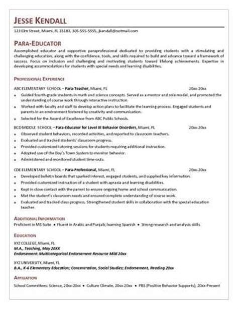 sle resume for paraprofessional position paraprofessional resume sle resume ideas