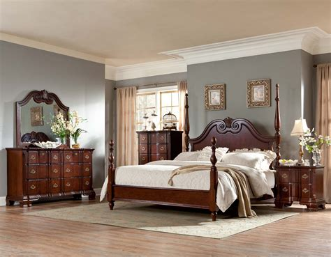 homelegance guilford poster bedroom set brown cherry b2155 1sp bed set