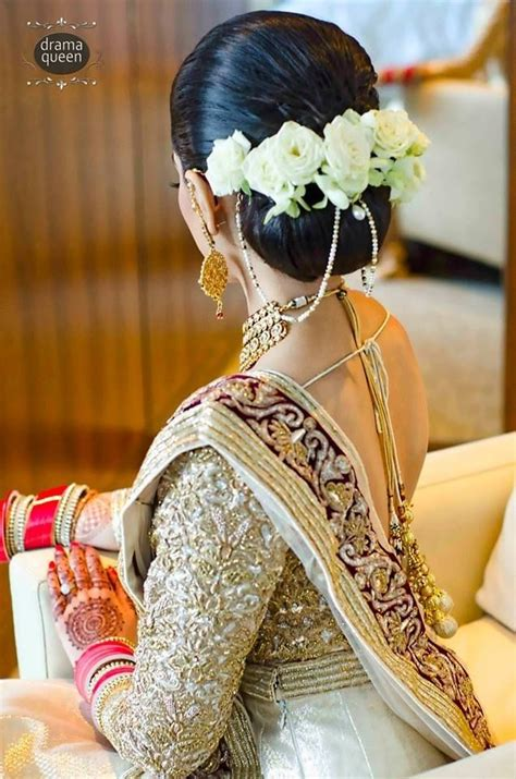 beautiful wedding hairstyle  flowers indian wedding