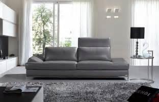 Ani casa izzy modern dark grey leather sofa