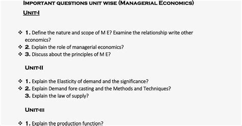 Mba Managerial Economics Questions And Answers by Pace Mba Vijay Chalagala Important Questions Unit Wise