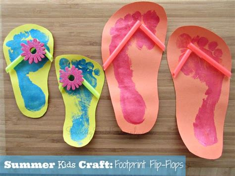 kid summer crafts summer craft footprint flip flops raising whasians