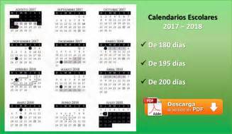 Calendario 2017 Y 2018 Calendarios Escolares 2017 2018 De 180 195 Y 200 D 237 As