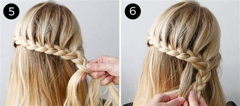 lace braid step by step leather and lace braid give this romantic half updo a try