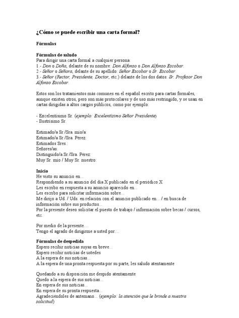 carta formal laboral como redactar una carta formal