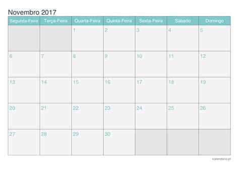 Calendario Novembro 2017 Para Imprimir Calend 225 Novembro 2017 Para Imprimir Icalend 225 Pt