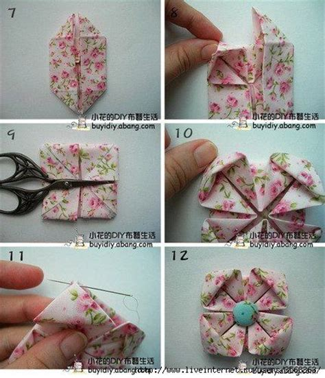 Origami Fabric Flowers - fabric origami flower written in russian but the picture