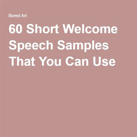 Welcome Speech Quotes