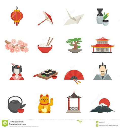 flat icon design japan japanese icons flat set stock vector image 54545257