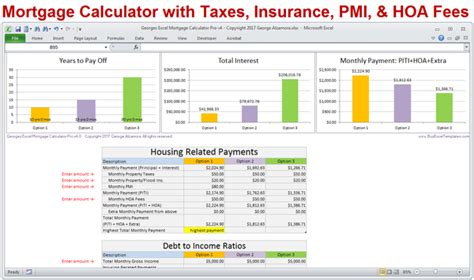 calculate my house payment with taxes and insurance mortgage calculator with taxes insurance pmi hoa extra payments buyexceltemplates com