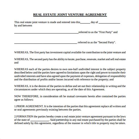 joint venture agreement template pdf sle real estate partnership agreement 9 free