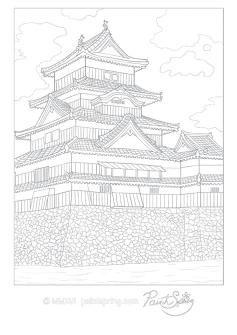 japanese castle coloring page printable japan adult coloring book paintspring