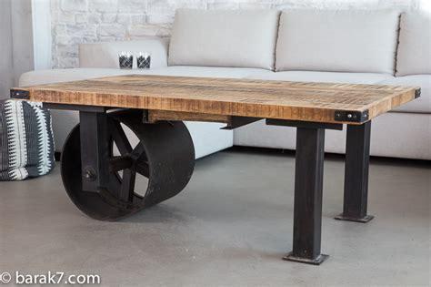Table table basse industrielle 224 roue noire barak 7
