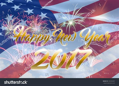 happy new year 2017 usa flag stock photo 545304307