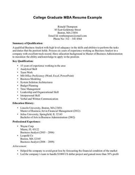 Resume Objective For New College Graduate by College Graduate Mba Resume Exle