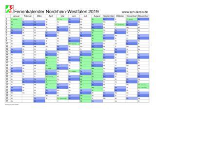 Jahreskalender 2019 Nrw Schulkreis De Schulferien Kalender Nrw Nordrhein Westfalen