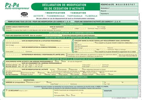 Modification Kbis Auto Entrepreneur by P2 P4 D 233 Claration De Modification Ou De Cessation D