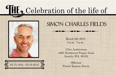 funeral announcement cards templates memorial service funeral invitation card ideas