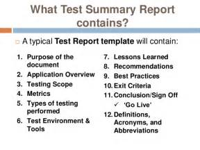 test exit report template software testing report