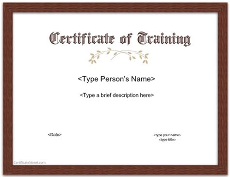 trainer certificate template special certificates certificate of
