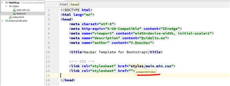css tutorial link stylesheet phpstorm unexpected token css codedump io