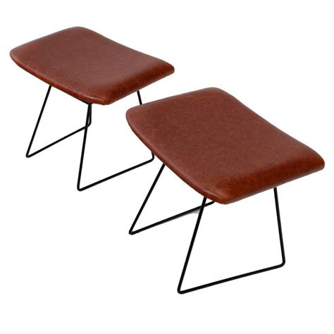 bird ottoman vintage harry bertoia bird ottomans leather covered foot stool for knoll at 1stdibs