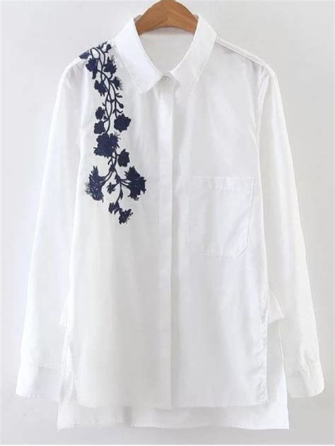 17205 Embroidered Poplin Blouse Blue White Size S M L embroidered shoulder poplin shirt white blouses s zaful