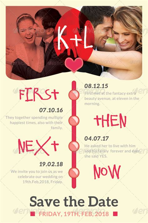 love timeline wedding save the date template by