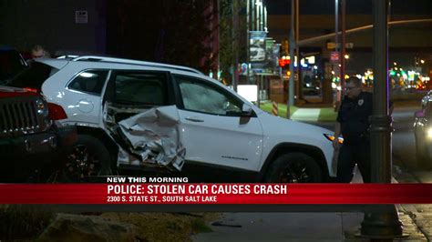 my car was stolen and crashed search for suspect who stole car ran from officers crashed into suv fox13now